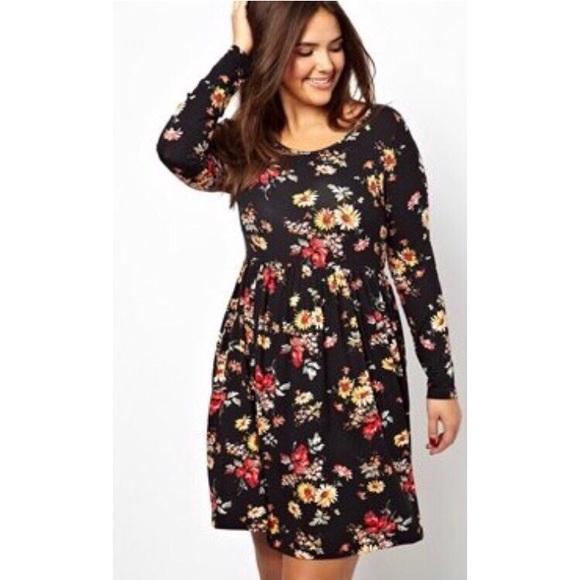 4bb1cf27205 Plus Size Floral Skater Dress